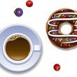 Cup of coffee and a donut — Stock Vector #60243899