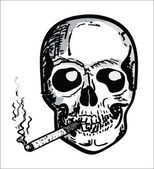 Hand Draw Scull with cigarette — Stock Vector