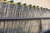 Supermarket shopping cart trolleys — Stock Photo