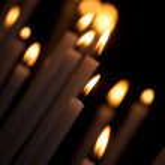 Burning white candles — Stock Photo #58717591