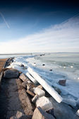 Ijzige het balatonmeer in de winter — Stockfoto