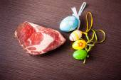 Beef with easter eggs — Stock Photo