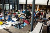 War refugees at the Keleti Railway Station — Stock Photo