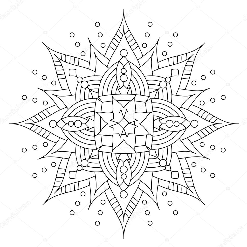 Coloring book snowflake - Abstract Mandala Or Whimsical Snowflake Line Art Design Or Coloring Page Vector By Ratselmeister