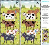 Find the differences visual puzzle - cows — Stock Vector