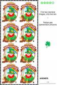 Visual puzzle - find two identical badges with leprechaun the shoemaker — Stock Vector