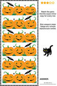 Halloween visual puzzle with rows of pumpkins — Stock Vector