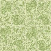 Seamless paisley background of pale green and tan colors — Vecteur