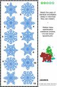 Visual puzzle - match the pairs of identical snowflakes — Stock Vector