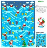 Santa deliver presents 3d Christmas or New Year maze game — Stock Vector