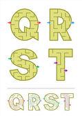 Alphabet maze games Q, R, S, T — Stock Vector