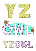 Alphabet maze games Y, Z and word maze OWL — Stock Vector