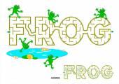 FROG word maze for kids — Stock Vector