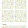 Set of four maze game templates with answers — Stock Vector #66814731