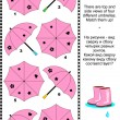 Visual puzzle with top and side views of umbrellas — Stock Vector #67704685