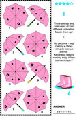 Visual puzzle with top and side views of umbrellas — Stock Vector