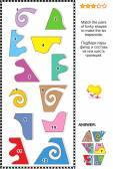 数学パズル - 台形にする図形と一致 — ストックベクタ