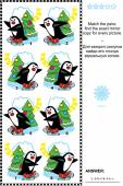 Picture puzzle - find the mirrored copy for every skating penguin image — Stock Vector