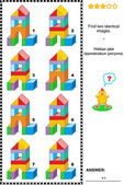 Visual puzzle - find two identical images of toy towers — Stock Vector
