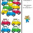 Visual logic puzzle with colorful toy cars — Stock Vector #71319355