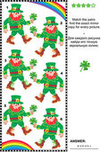 Visual puzzle: find the mirrored copy for every leprechaun picture — Wektor stockowy
