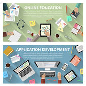 Online education and app development concept — Stock Vector