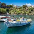 Boats on Lake Voulismeni. Agios Nikolaos, Crete, Greece — Stock Photo #64175379