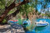 Boats on Lake Voulismeni. Agios Nikolaos, Crete, Greece — Stock Photo