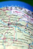 Hamburg City On Map — 图库照片