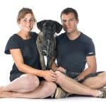 Puppy cane corso and couple — Stock Photo #53574119