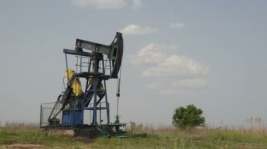 Oil Well in the Field Pumping Crude Diesel, 1920x1080 25p — Stock Video