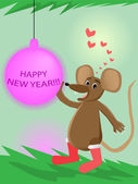 Mouse and new year's ball — Stock Vector