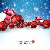 Christmas balls and gifts — Stock Vector