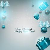 Noel hediyeleri ve mavi topları — Stok Vektör