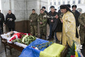 Soldier killed in clashes at Donetsk airport laid in rest in Kie — Stock Photo