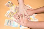 Money from different countries:  euros, hryvnia. — Stock Photo