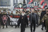 "Activists and supporters of the ""Right Sector"" held ""March of tr — Stock Photo"