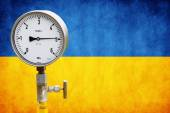 Wellhead Pressure Gauge on flag Ukraine  — Stock Photo