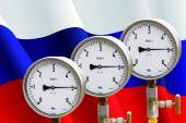 Wellhead Pressure Gauge on flag Russia  — Stock Photo