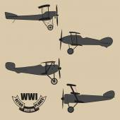 Vector silhouettes retro planes times of World War I — Stock Vector