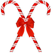 Candy canes with bow — Stock Vector