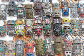 Mayan wooden handcrafted masks — Stock Photo