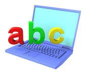 Φορητό υπολογιστή με γράμματα Abc — Φωτογραφία Αρχείου