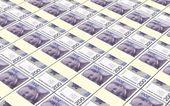 Norwegian krone bills stacks background. — Stock Photo