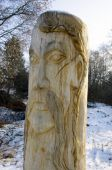 Wooden statue of the Slavic idol.  Ukraine.  — 图库照片