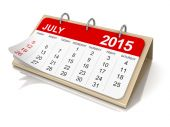 Calendar -  July 2015  (clipping path included) — Stock Photo
