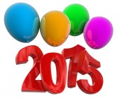 2015 on balloons (clipping path included) — Foto Stock