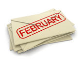 February letters  (clipping path included) — Stock Photo