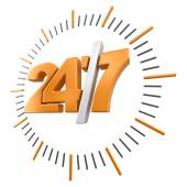 24-7 Sign (clipping path included) — Stock Photo