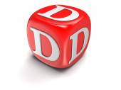 Dice with letter D (clipping path included) — Stock Photo